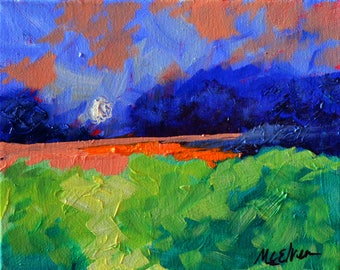 GreenField  - Original Abstract Oil Painting Landscape Painting by Claire McElveen - Made To Order