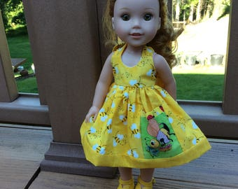 "Honey Bee, pocket, 14"" doll clothes, fits Wellie Wisher"
