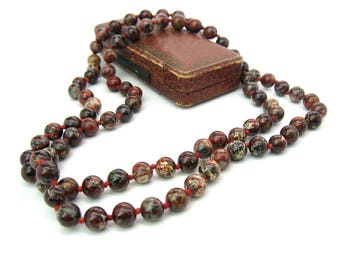 Jasper Beads Necklace. Brecciated Jasper Beads. 8mm. Long Single Strand. Hand Knotted. Rust Red, Brown, Cream, Gray. Vintage Beaded Jewelry