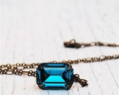 Teal Peacock Blue Necklace Vintage Swarovski Crystal Teal Blue Duchess Rectangle Pendant Necklace Mashugana