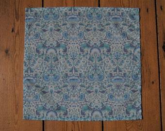 Handmade Liberty Fabric Pocket Square Handkerchief in Lodden Light Blue