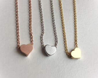 Rose gold, gold or silver chain and small floating heart, layered jewelry rose gold filled chain