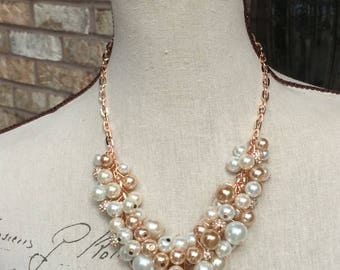 8 Rose gold chunky pearl necklace And one drop champagne pearl earrings