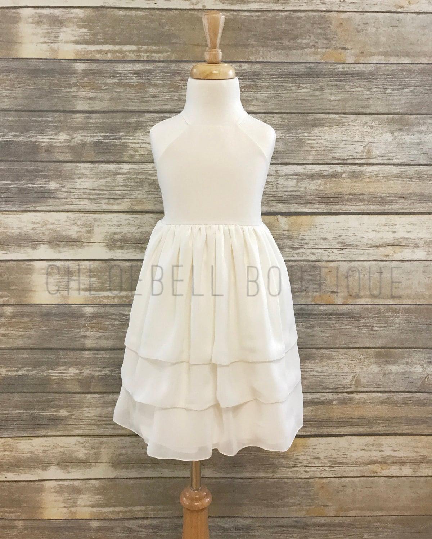 Ivory Chiffon Dress Off White Flower Girl Dress 3 Tier