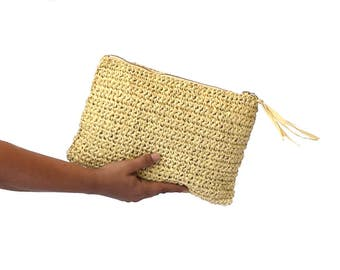 Natural raffia crochet clutch, summer beach bag, boho straw clutch, raphia beach bag, woven clutch, straw purse, summer bag, tan color bag