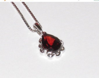 """Dainty Sterling 18"""" Chain & Pendant w/ Deep Red Teardrop Glass Stone / Gift For Her / Free US Shipping"""