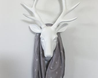 Infinity Scarf - White Trianle Arrows on Grey - Cotton Jersey Blend Knit