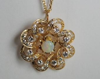 Opal and Diamond Swirl Pendant 1.76 ctw. 14kt