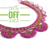 70% OFF Necklace- Bohemian Crochet Statement Beaded Pink Carnation Flowers Collar Necklace, Authentic Ottoman Jewelry, Historical Jewelry