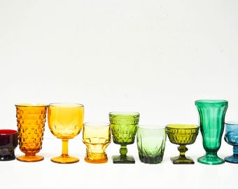 Vintage Glass Goblets Set