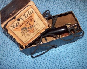 Antique 1910 La Vida Vibrator massage electic with original Box WORKING condition