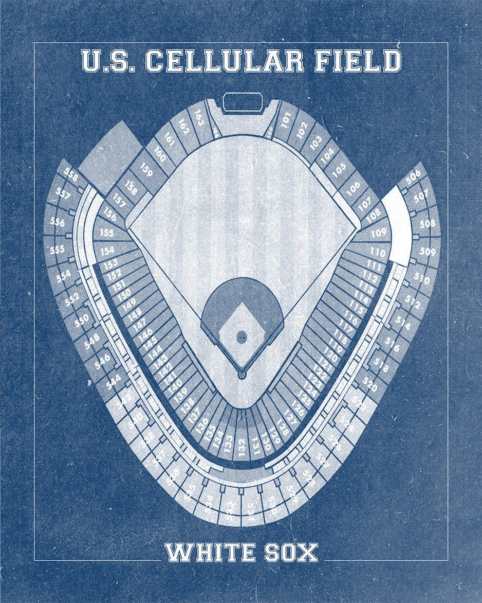 Vintage Print Of US Cellular Field Seating Chart Chicago White - Cellular field seating