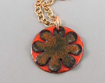 Enameled Copper Flower Necklace, Copper Floral Necklace, Metalwork Jewelry, Copper Necklace, Enameled Jewelry