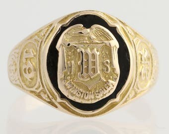 High School Class Ring - 10k Yellow Gold Black Enamel Winston Salem, N.C. 1925 L7442