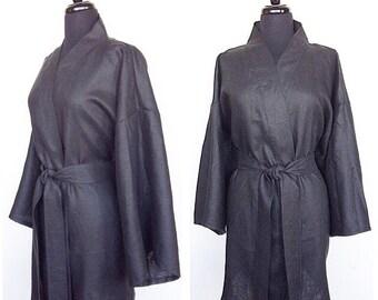 100% Organic Linen Kimono In Color Black