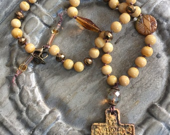 Artisan Rustic Rugged Cross Necklace