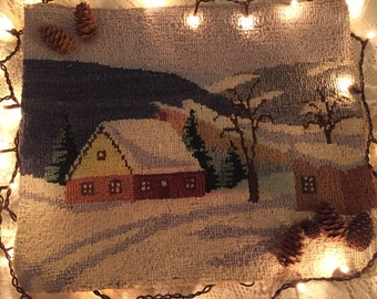 Antique needlepoint 1930s on burlap cabin snow primitive charming country