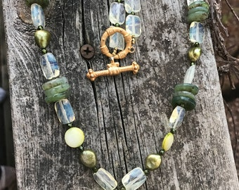 Pinapple quartz Olivine pearl & Green Jasper heart Necklace .Gold Baroque toggle clasp. The Baroque Princess. Green and yellow Necklace