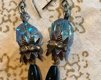 Obsidian and French vintage Crown Dangle Earrings. Blue Channel Cut RARE Swarovski Crystal rocks.The Baroque Princess one of a kind designs