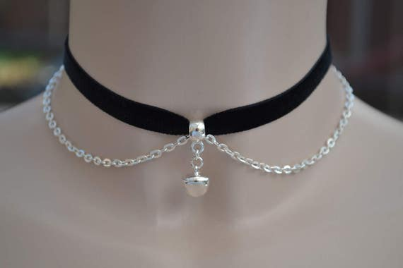 """Silver Plated JINGLE BELL With Chain BLACK 10mm 3/8"""" Velvet Ribbon Choker Necklace -ma... or choose another colour velvet :)"""