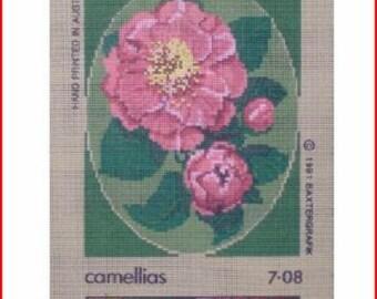 Pretty Camellias Needlepoint Canvas
