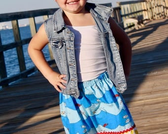 Skirt made with authorized Robert Kaufman One fish Two Fish   (18 mos - 10)
