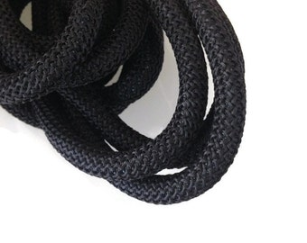10mm Black Braided Nautical Paracord, Black Braided Rope Cord, Thick Necklace Rope, Semisoft Climbing Cord, 10mm, S 40 123