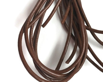3mm Brown Leather Cord, Greek leather cord, Brown Leather Necklace Cord 1m- 1 yard S 40 160