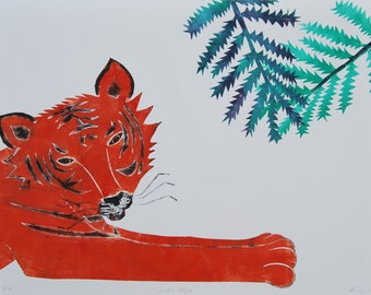 Tiger  'and Relax' Original Collagraph Print, Printmaking, Limited edition, Animal Art.