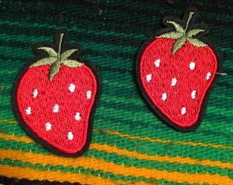 SALE vintage patch lot set of 2 strawberry patches 70s 80s 90s lolita pinup cute kolbi jean