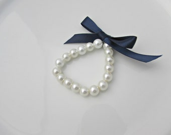Pearl Bracelet, Ribbon Tie Pearl Bracelet, Navy Blue Ribbon Pearl Bracelet, Bridesmaid Gift, UK Seller, Flower Girl Bracelet, Bridal Shower