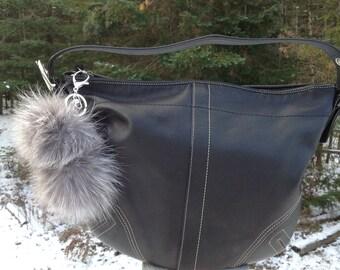 Grey Pearl Fox Fur Double Pom Pom Keychain