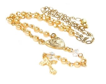 Rosary Necklace, Petite Gold Swarovski® Pearls & Crystals