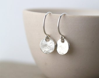 Tiny Sterling Silver Earrings Dangle, Minimalist Small Earrings, Gift for Women, Handmade Silver Jewelry Gift for Her by Burnish