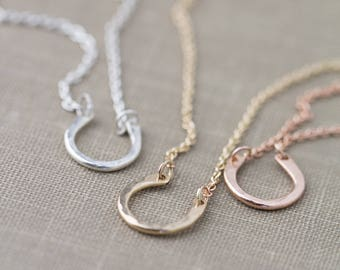 SALE Lucky Charm Necklace Horseshoe, Handmade Jewelry Gift for Women, Sterling Silver Rose Gold Necklace for Best Friends