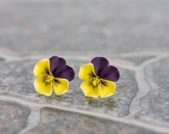 Purple Yellow Pansies Kiss-me-quick Stud Earrings Wholesale Women Small Hypoallergenic Handmade Studs Wedding Bridal Birthday Gifts Earrings