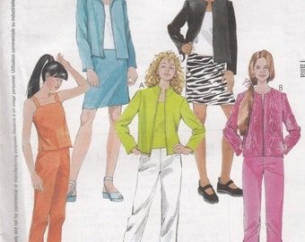 "CLEARANCE Junior's/Teen's/Girl's Unlined Jacket Pants, Tops and Skirt McCall's 3135 Sewing Pattern Sizes 12-14-16 Bust 30-32-33.5"" UNCUT"