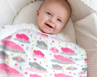 Buffalo Baby Blanket - Pink Minky