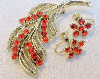 Vintage Orange Rhinestone Gold Tone Brooch And Earring Demi