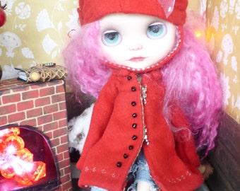 Blythe Santa red Winter Coat & Hat  (BD21516)