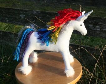Rainbow Sparkle Unicorn Fantasy Plush ~ Handmade Eco Friendly Stuffed Animal, White Unicorn, Lisa Frank, Rainbow Toy, Unicorns, Rainbow Toys
