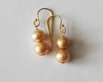 Real Champagne pearl drop earrings - Champagne gold pearl earrings - Bridesmaid earrings - Pearl dangle earrings - Gold pearl earrings