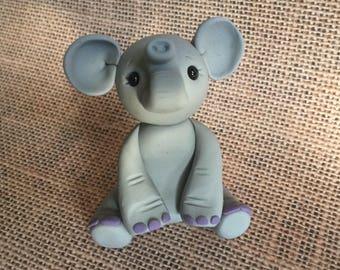 Little Gray Elephant - Polymer Clay Sculpture - Cake Topper keepsake - Art by Sarah Price