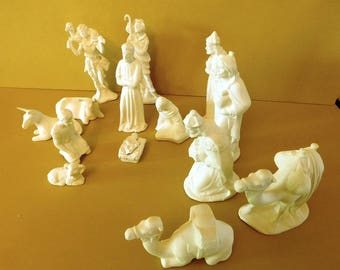 Christmas, Ceramic bisque, NATIVITY SET, 15 piece, unpainted, Handmade
