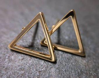Gold or silver geometric triangle stud earrings