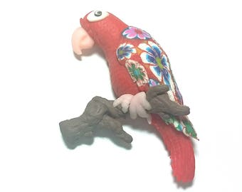 New Fimo Polymer Clay Red parrot Figurine Refrigerator Magnet