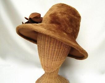 Vintage Ladies Hat Fur Felt Floppy Brim Light Brown Frank Olive