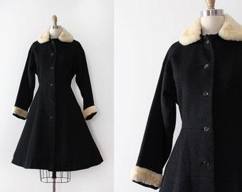 vintage 1950s coat // 50s black wool princess coat