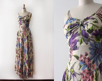 vintage 1930s gown // 30s floral silk gown