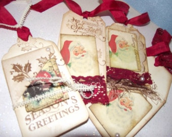 Shabby Chic Style Gift Tags  Christmas Package Christmas Journal Scrap Book Page Inserts
